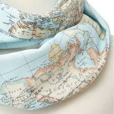 around the world geography scarf  map scarf accessory