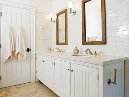 white beadboard bathroom. Crisp White Cottage Beachy Bathroom Design With Beadboard Cabinets Vanity, Double Sinks, T