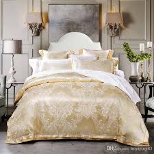 beige gold jacquard satin bedding sets luxury tribute silk duvet cover king queen size bed set bed linen bedclothes cotton king sheet sets masculine bedding
