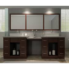 double set dark brown solid wood cabinet having square white ceramic vessel sink under three section brown bathroom furniture