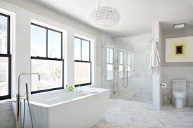 Image Shower Contemporary White Master Bathroom With Marble Floors Hgtvcom Marble Bathrooms Were Swooning Over Hgtvs Decorating Design