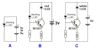led projects figure f uses a single cell and a voltage multiplying arrangement to flash a red or green led figure g flashes a white led on a 3v supply