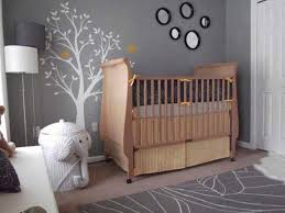 Contemporary Design Ideas For Baby Nursery Grey Main Color Elephant Basket  High Wooden Crib Tree Decals