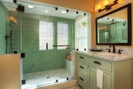 sage green color bathroom craftsman with gray tile floor transitional bath towels