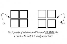 spacing between artwork groupings