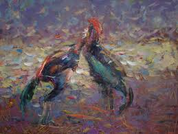 doorov suiorkul artwork cockfighting original painting oil birds art