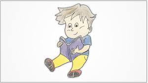 how to draw a boy reading a book for kids