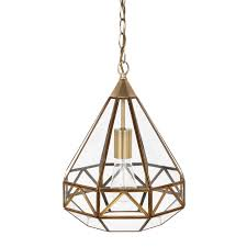 Antique Brass Pendant Light Fixtures Laura Ashley Zaria Antique Brass Glass Frame Pendant Light