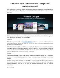 I Want To Build A Website For Free 5 Reasons That You Should Not Design Your Website Yourself