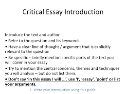 critical essay writing ppt video online  critical essay introduction