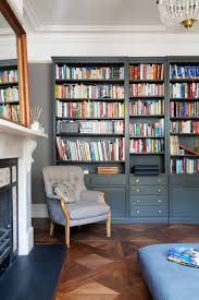 Library:Modern Grey Fauteuil Chair In Handsome Home Library Interior Design  With Parquet Floor1 25