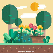Small Picture Garden landscape flat design Vector Free Download