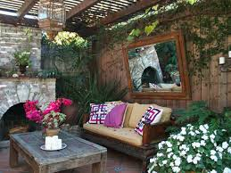 Bedroom:Outdoor Seating Idea With Old Brick Fireplace Plus Hanging Glass  Chandelier Elegant Hanging Candle