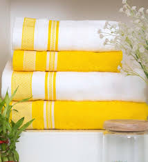 excellent lot of 5 yellow bath towels mixed 2 with crocheted edges retro yellow
