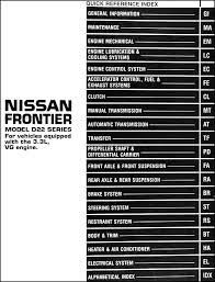 1999 nissan frontier repair shop manual 3 3l vg engine original 2004 Nissan Frontier Stereo Wiring Diagram table of contents 2014 nissan frontier stereo wiring diagram