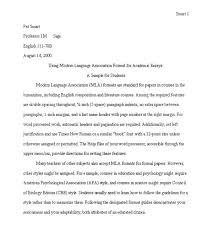 Formatting Mla Paper Essay Writing Format Examples Mla Format Sample