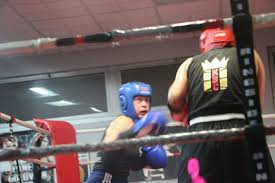Amateur boxer boxing her she