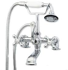 clawfoot tub faucet hand held shower 2 deck mount risers