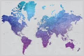 diy vibrant violet travel map  watercolor world map poster