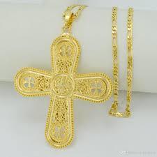 2019 18k gold plated ethiopian big cross necklaces for women men eritrea cross pendant jewelry catholic gift 049906 from ixianglian