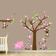 image of nursery wall decals jungle for baby girl