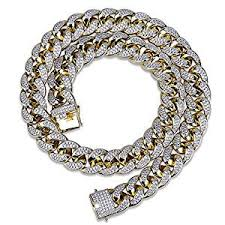 Iced Out Bling 12mm Miami Cuban Link Chain 25ct TW VVS Lab Diamonds 14k  Gold Plated Stainless Steel Jewelry Men