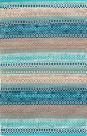 gypsy stripe woven cotton rug in turquoise grey