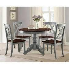 farmhouse dining table set 5 piece chairs espresso antique blue wood kitchen