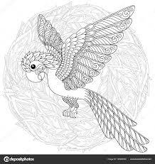 Papegaai Tropische Vogel Vectorillustratie Kleurboek Voor