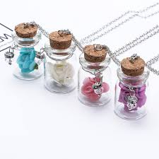 glow in the dark flower pendant necklace fluorescent glass wish bottle fb
