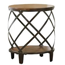 winston cherry round rustic end table