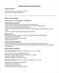 Sample Resume For Retail Sales Associate Retail Sales Associate