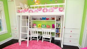 loft beds with desk in girls bedroom