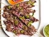 beef skewers with cilantro chimichurri