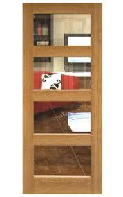 unfinished oak veneer internal door with glass panels wooden