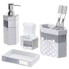 Quilted Mirror Bathroom Set 4 Piece Includes Lotion Dispenser