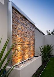 L Stone Clad Water Wall Kit Contemporary Feature Osborne Park Western  Australia  Outdoor Areas