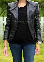 womens shoulder pads quilted genuine sheepskin leather black biker coat jacket