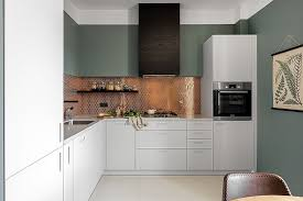 white traditional kitchen copper. Kitchens:Traditional Modern Kitchen With Small White Island Also Cabinet And Copper Backsplash Traditional