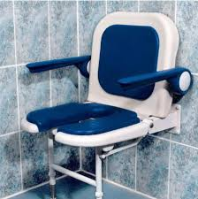 wall mounted fold up horseshoe padded shower seat with back and arms blue