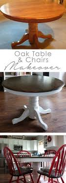 diy oak table and chair makeover cut pedestal lower and use for puzzle table ottomans for chairs