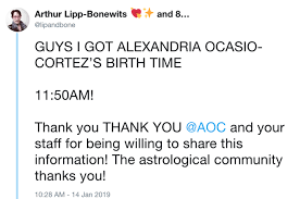 Alexandria Ocasio Cortez Birth Chart Twitter Users Are Passing Around Aocs Birth Chart Memesem