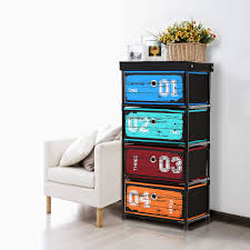... Toy Storage Cabinets Playroom Storage Bins IKayaa Organizer Antique  Style Fabric 4 Drawer Home ...