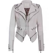 studded punk womens white faux leather moto jacket