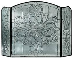 x beveled glass clear folding fireplace screen victoria
