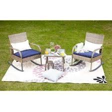 3 piece wicker outdoor rocking chair conversation set with blue cushion