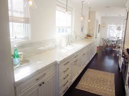 Kitchen White Narrow Kitchen Design Plus Dark Flooring Design