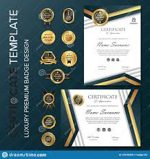 Certificate With Badge Template Vector Illustration Stock