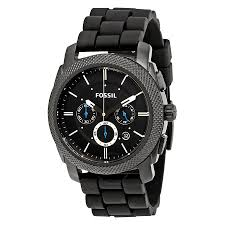 fossil machine chronograph black dial black silicone men s watch