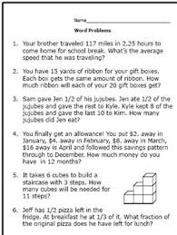 here are some math word problems perfect for 6th graders worksheet 1